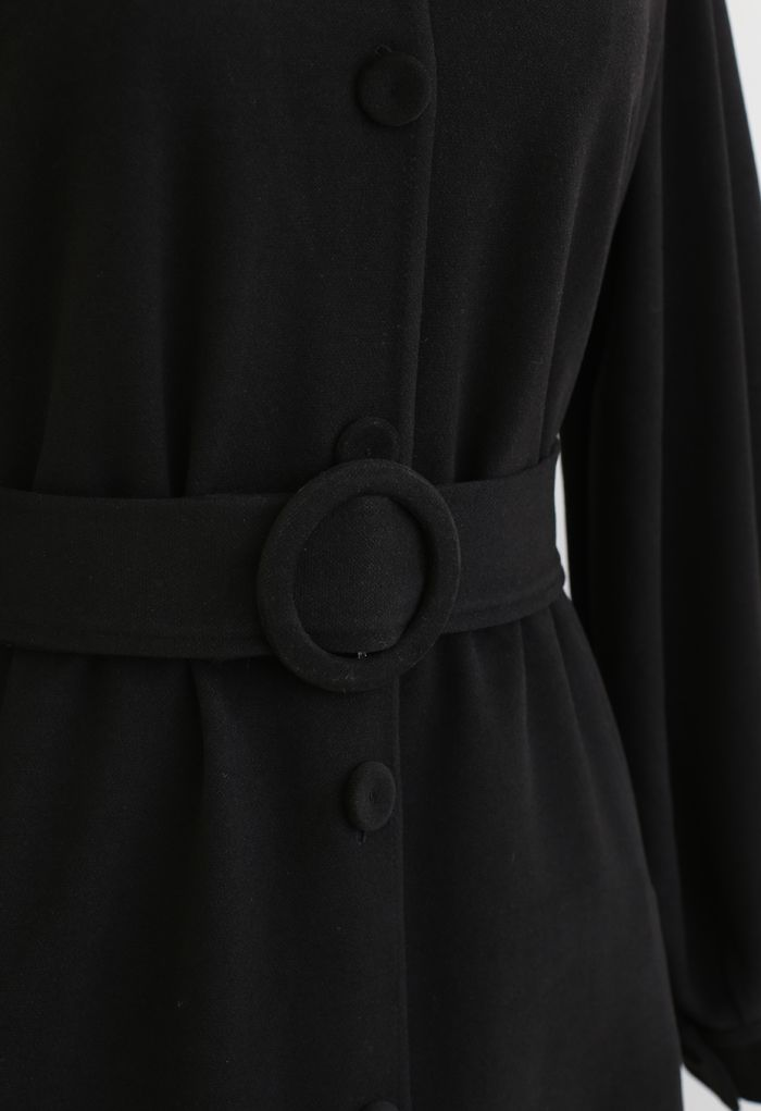 Collared Belted Button Down Coat Dress in Black