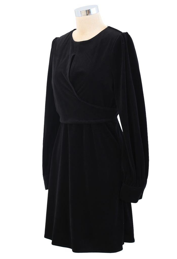 Corduroy Wrap Long Sleeves Mini Dress in Black