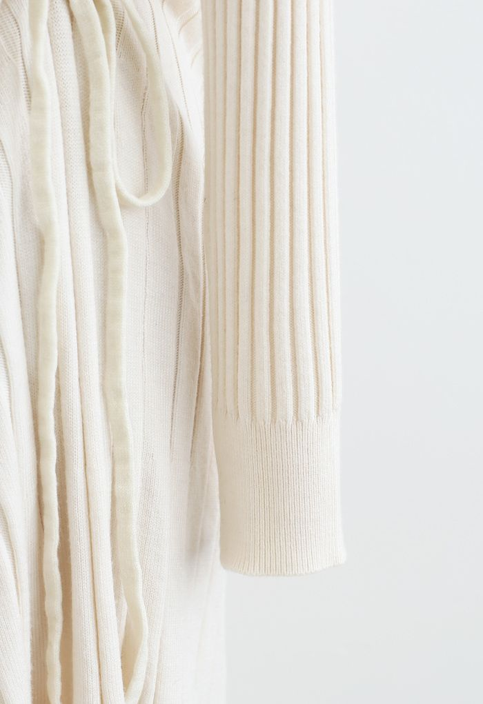 Side Drawstring Ribbed Knit Midi Dress in Ivory