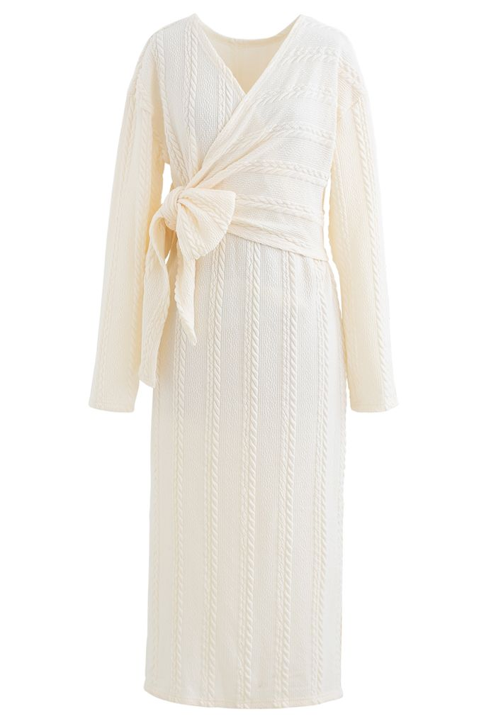 Braid Embossed Wrap Bowknot Slit Knit Dress in Ivory