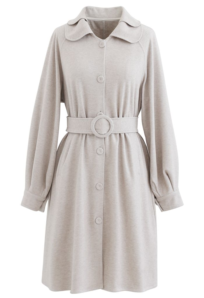 Collared Belted Button Down Coat Dress in Linen