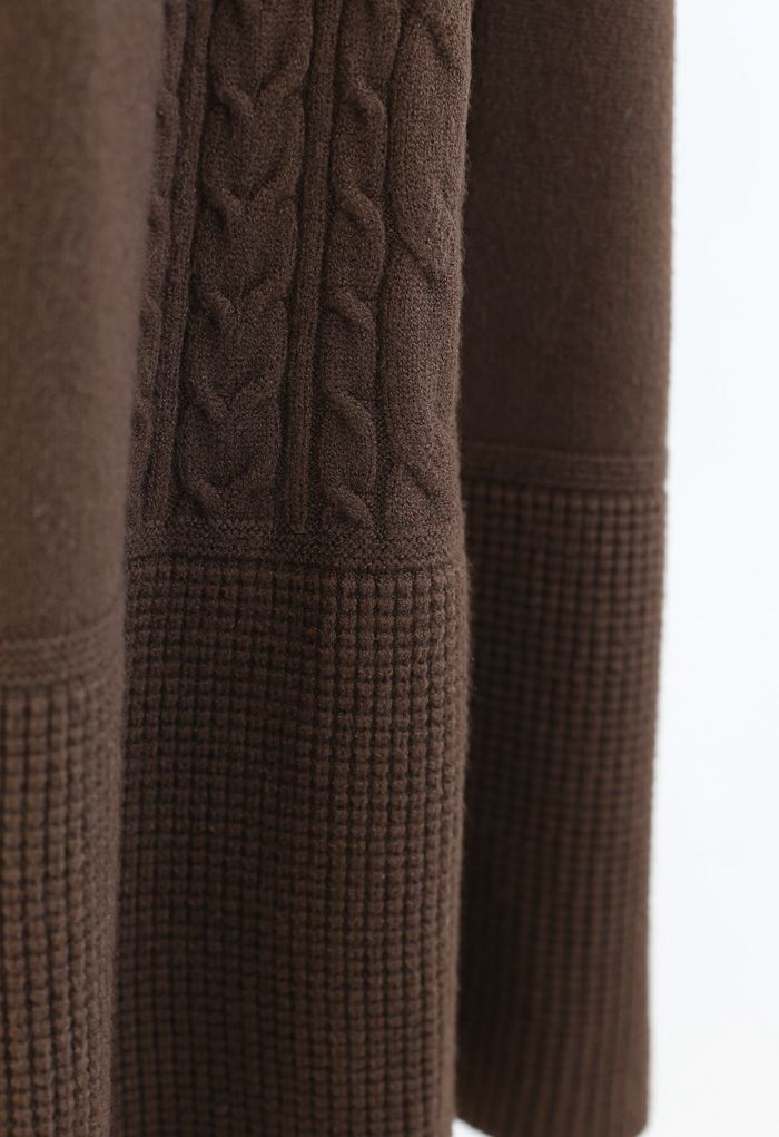 Braid Texture Soft Knit A-Line Midi Skirt in Brown