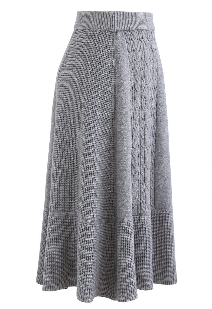 Braid Texture Soft Knit A-Line Midi Skirt in Grey
