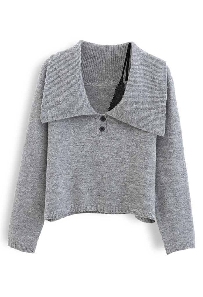 Collared Cold-Shoulder Knit Sweater in Grey