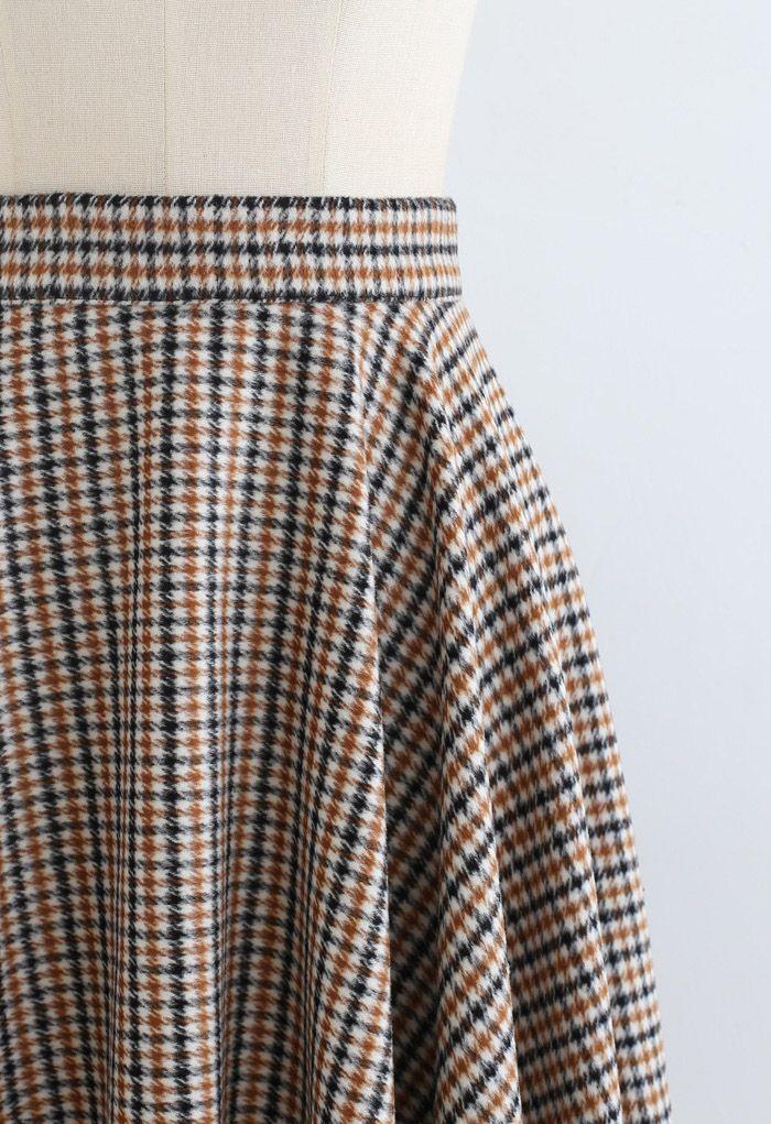 Flare Houndstooth Wool-Blend Midi Skirt