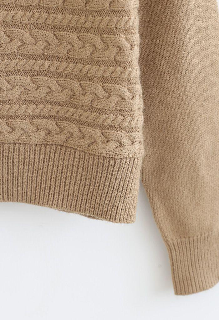 Crew Neck Braid Knit Sweater in Camel