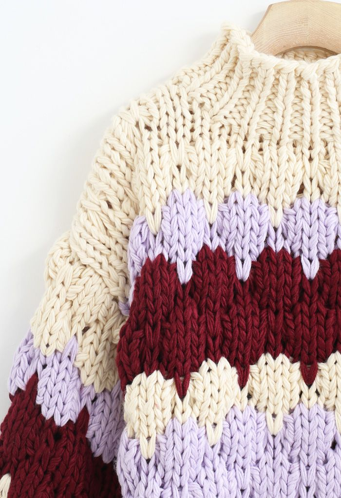 Color Blocked High Neck Hand-Knit Chunky Sweater in Cream