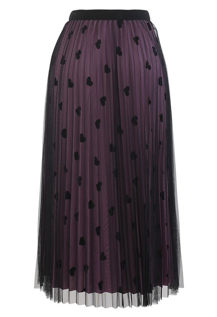 Mesh Overlay Heart Print Pleated Skirt in Violet