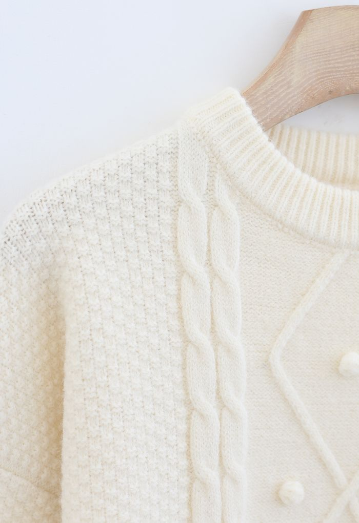 Textured Cable Knit Sweater in Cream