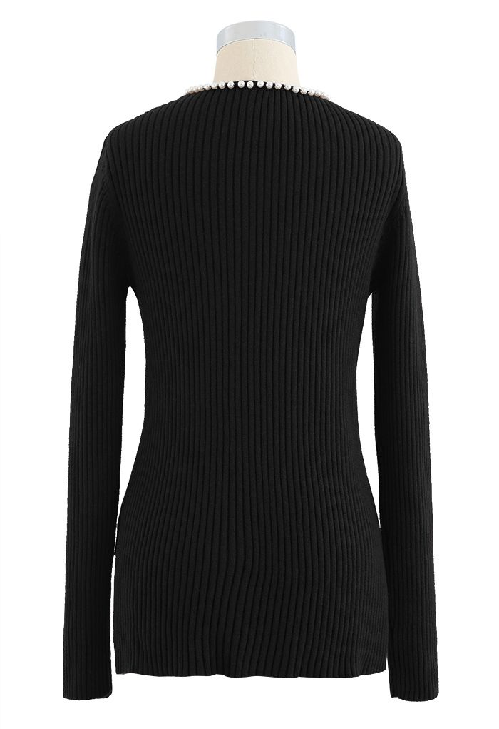 Pearl Neck Ribbed Hi-Lo Knit Sweater in Black
