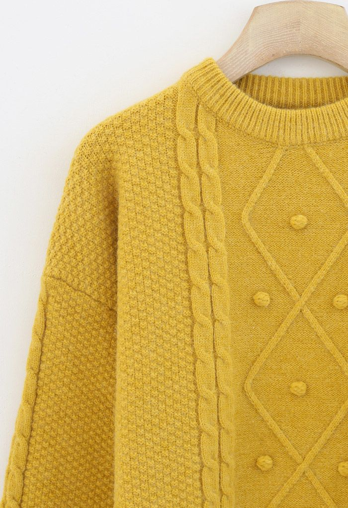 Textured Cable Knit Sweater in Yellow