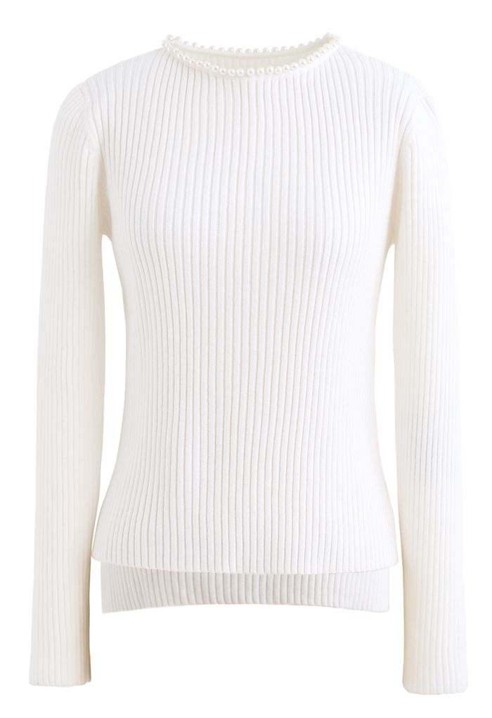Pearl Neck Ribbed Hi-Lo Knit Sweater in White