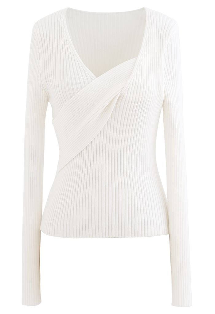 V-Neck Fitted Knit Top in White