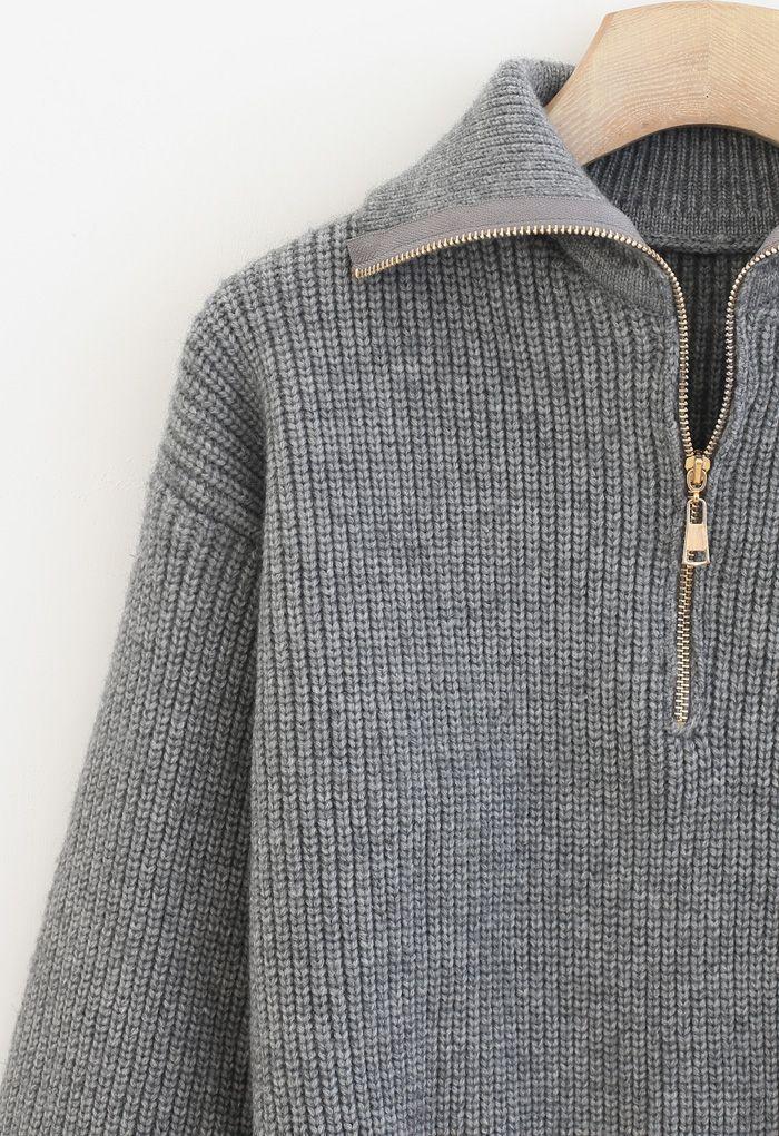 High Zipper Collar Knit Sweater in Grey