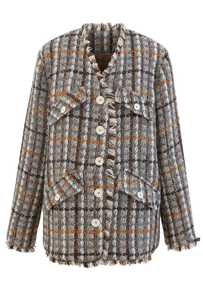 Faux Fur Lining Tassel Tweed Blazer in Taupe