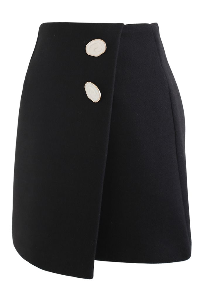 Marble Button Flap Mini Skirt in Black