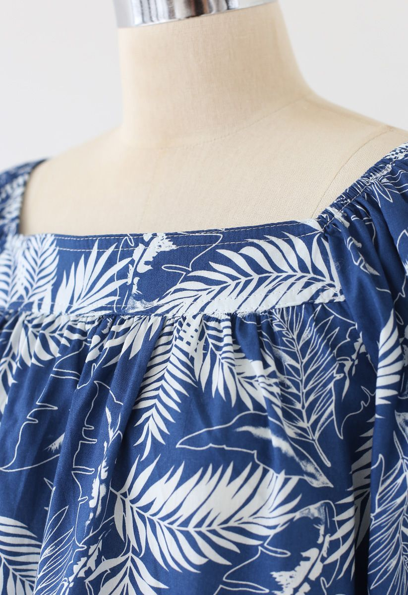 Square Neck Plantain Leaves Dolly Top in Indigo