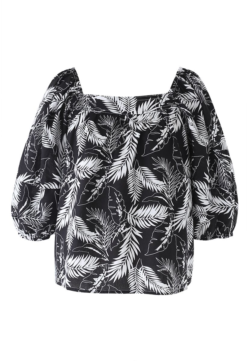 Square Neck Plantain Leaves Dolly Top in Black
