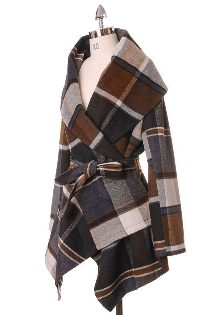 Prairie Check Rabato Coat by Chic+