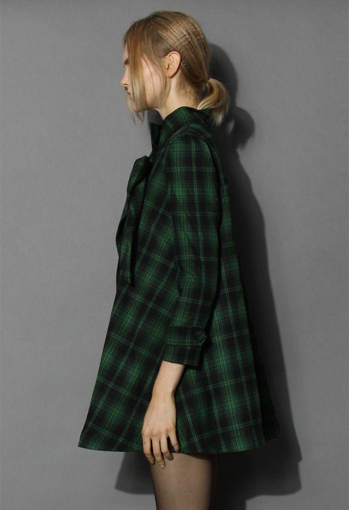 Green Tartan Dolly Dress with Big Bow