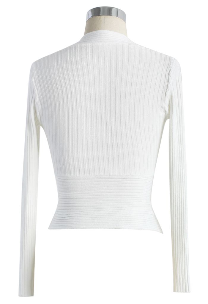 Glam V-neck Ribbed Top in White