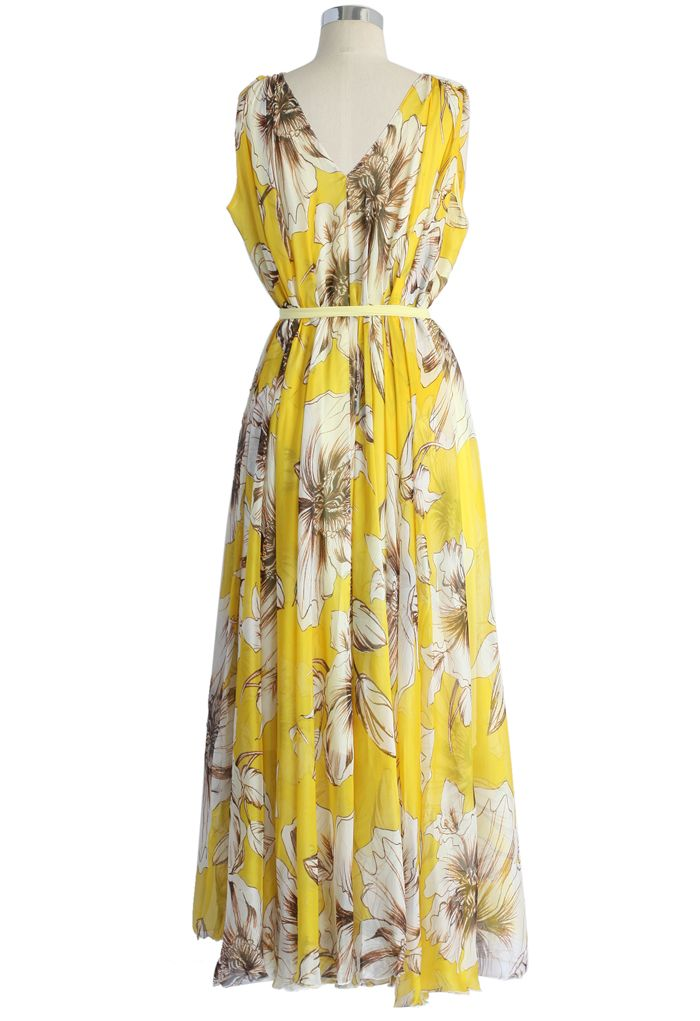 Marvelous Floral Chiffon Maxi Dress in Yellow
