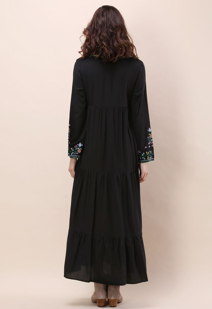 Black Prairie Embroidered Maxi Dress