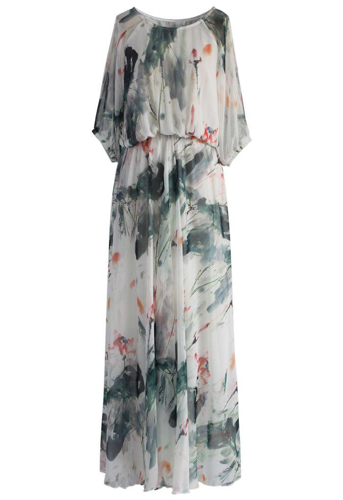 Paint in Grace Watercolor Maxi Dress