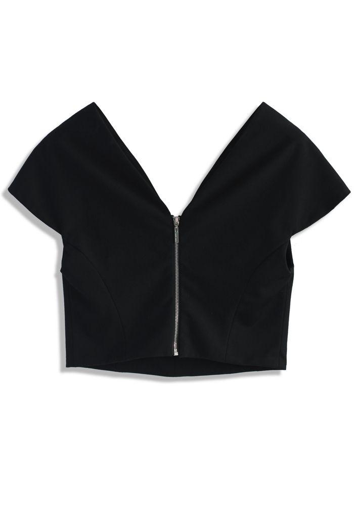 Timeless Elegance V-neck Cropped Top