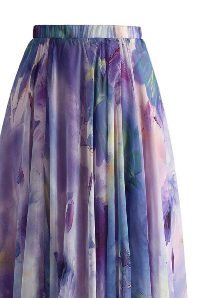 Dancing Watercolor Floral Maxi Skirt in Violet
