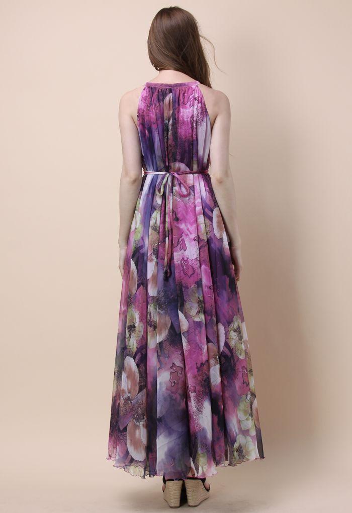Mysterious Purple Floral Maxi Slip Dress