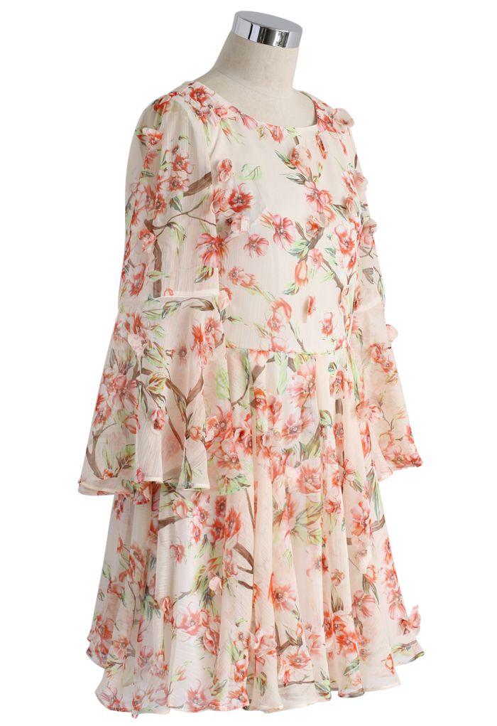 Full of Peach Blossoms Chiffon Pleated Dress