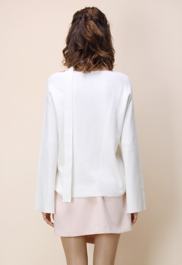 Soft Bell Sleeves V-neck Sweater in White