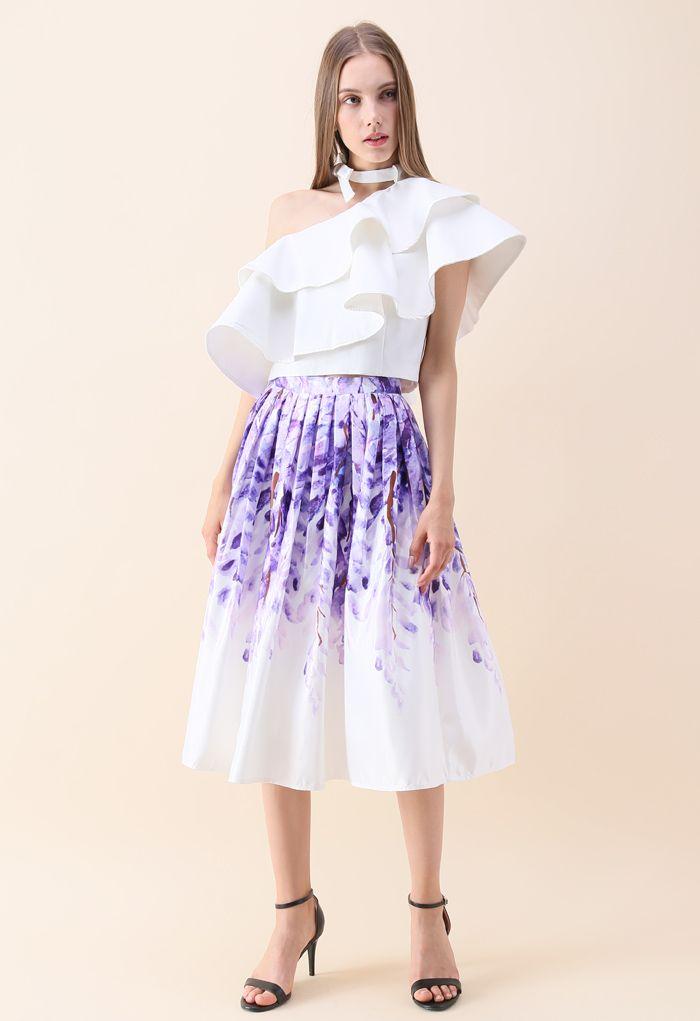 Divine Wisteria Printed Midi Skirt
