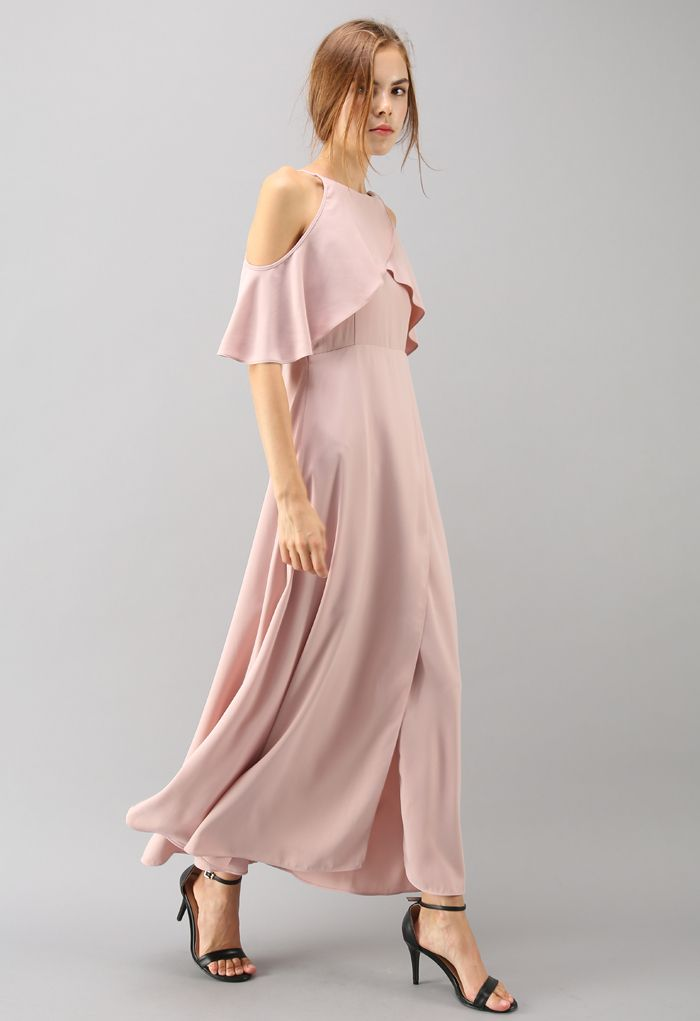 Sylphlike Pink Cold-Shoulder Maxi Dress