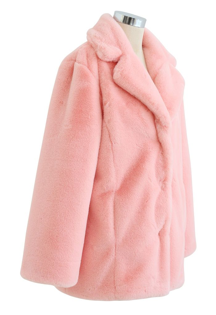 Pink Marshmallow Faux Fur Coat