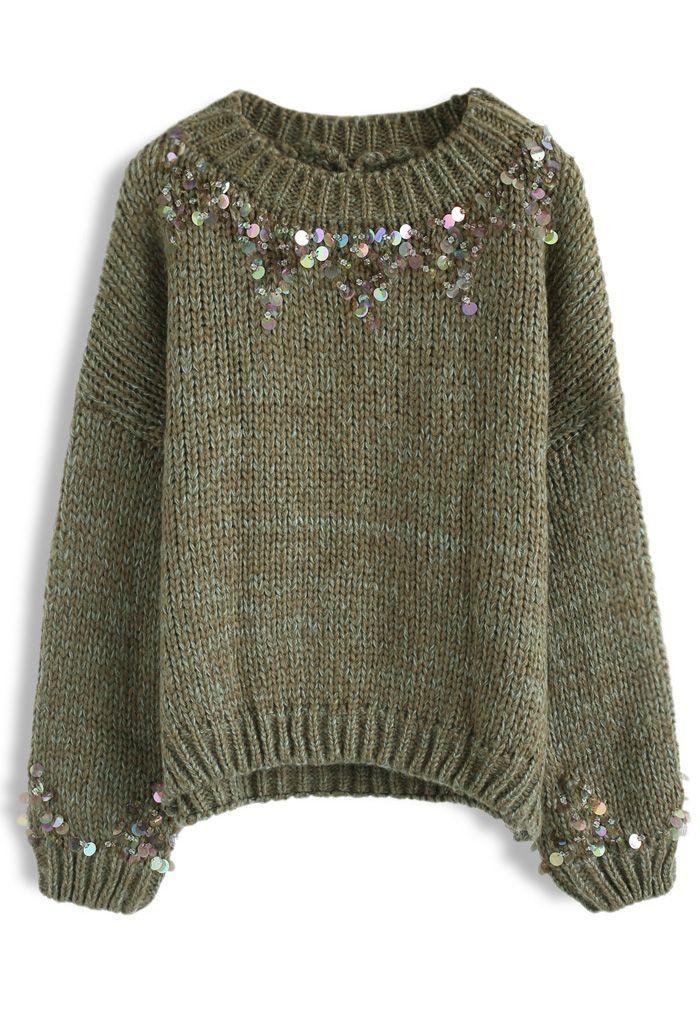 Focus on Sparkle Sequin Knit Sweater in Dark Green