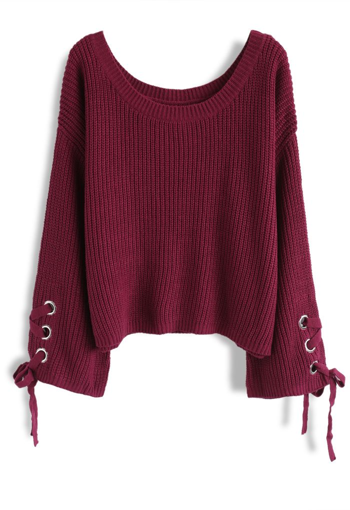 Leisure Moment Lace-Up Sleeves Ribbed Knit Sweater in Wine