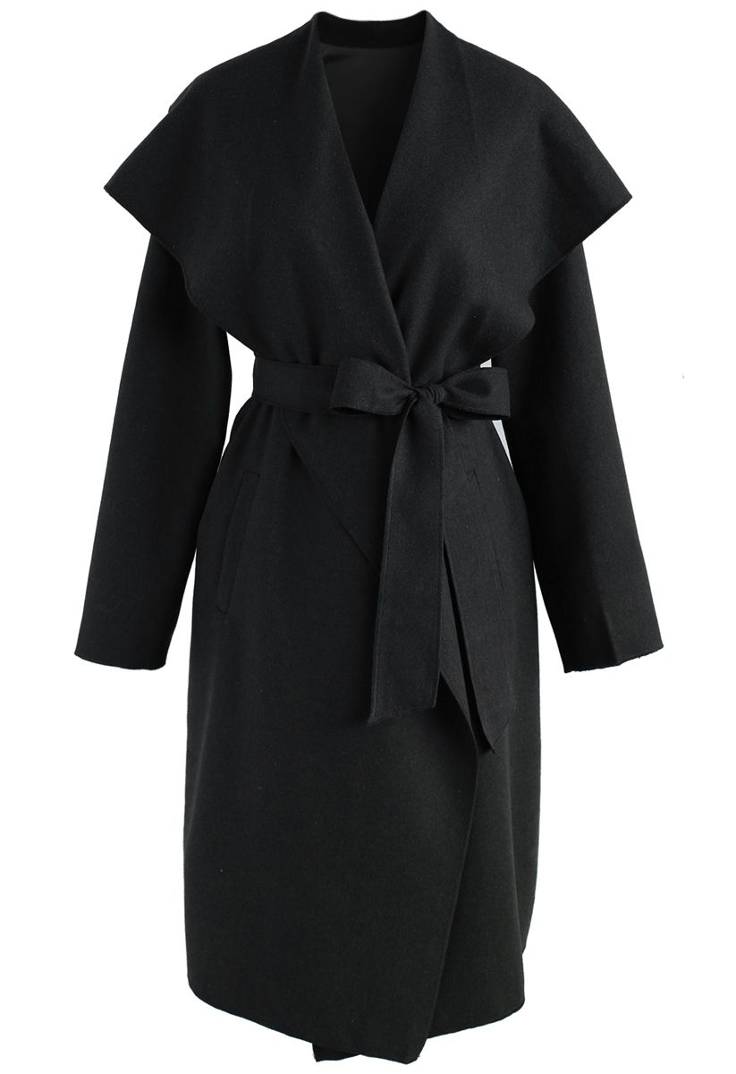 Free Myself Open Front Wool-Blend Coat in Black