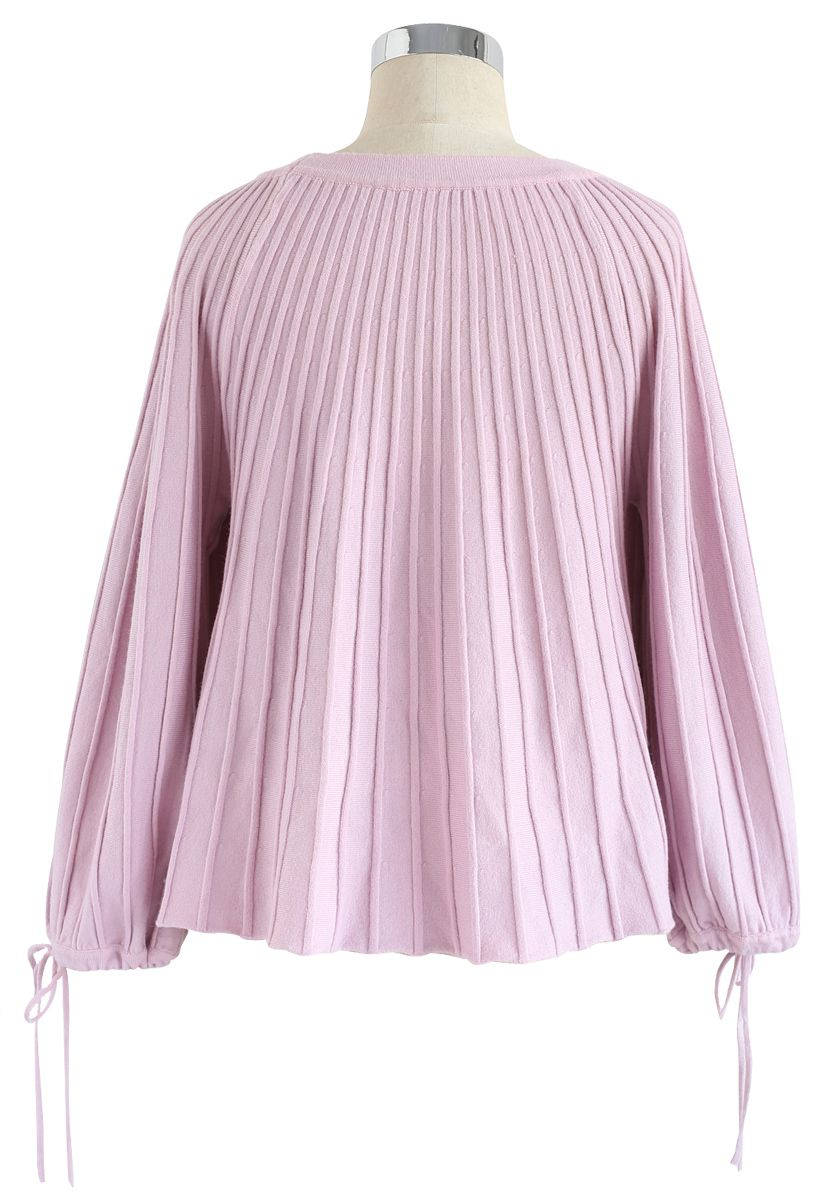 Sugary Puff Radiating Stripe Sweater in Pink