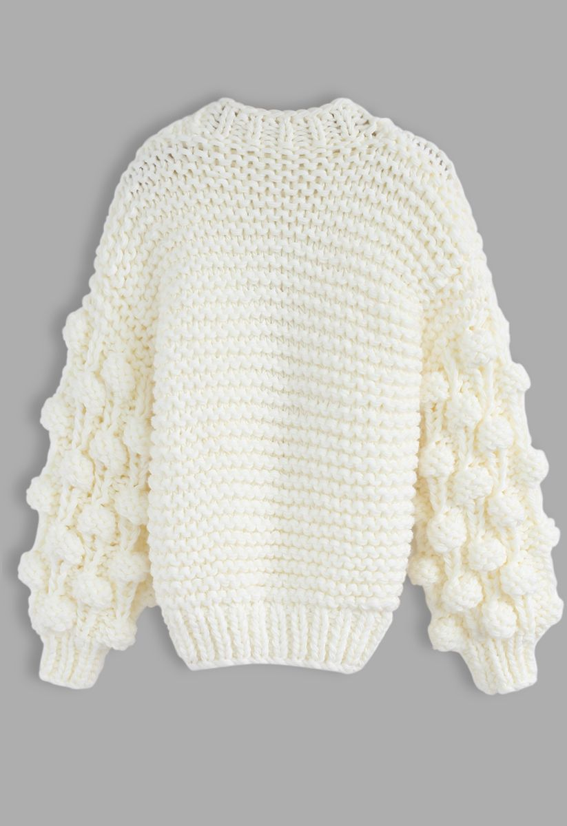 Cuteness on Sleeves Chunky Cardigan in White