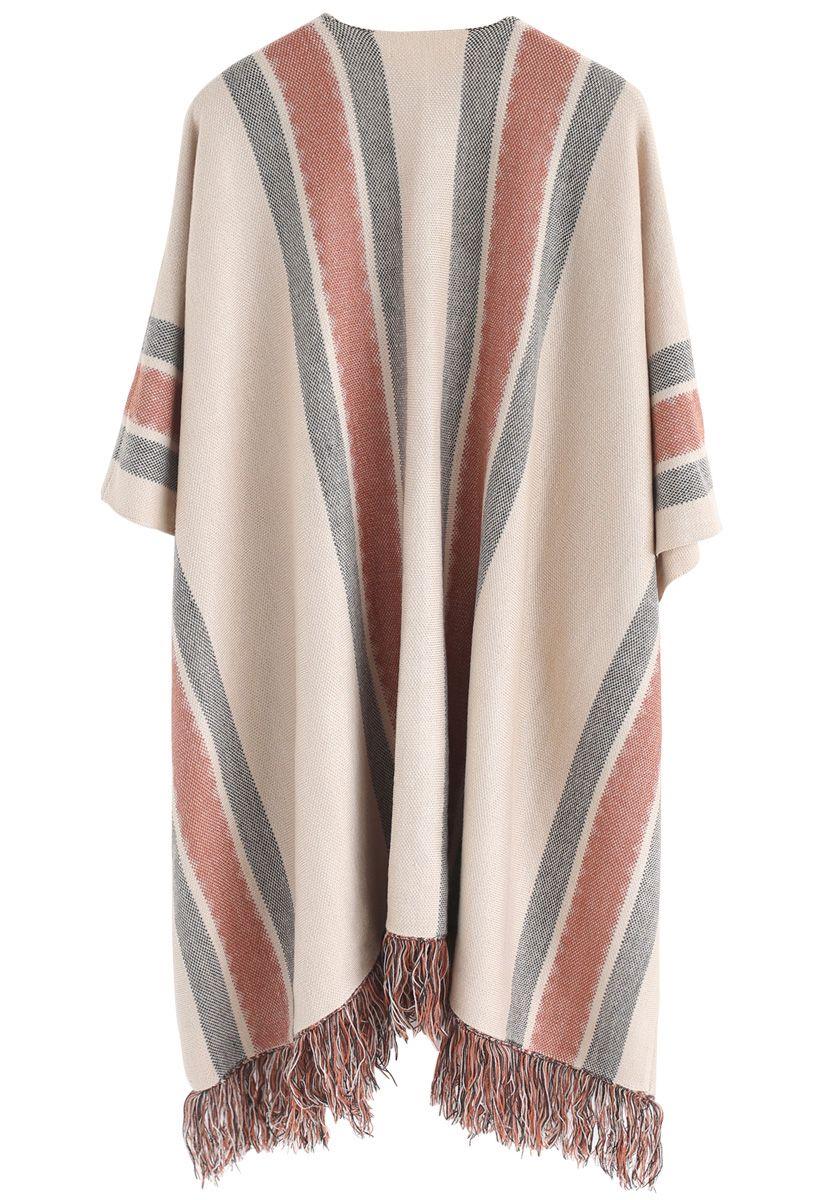 Stylish Folk Stripe Tassel Knitted Cape in Tan