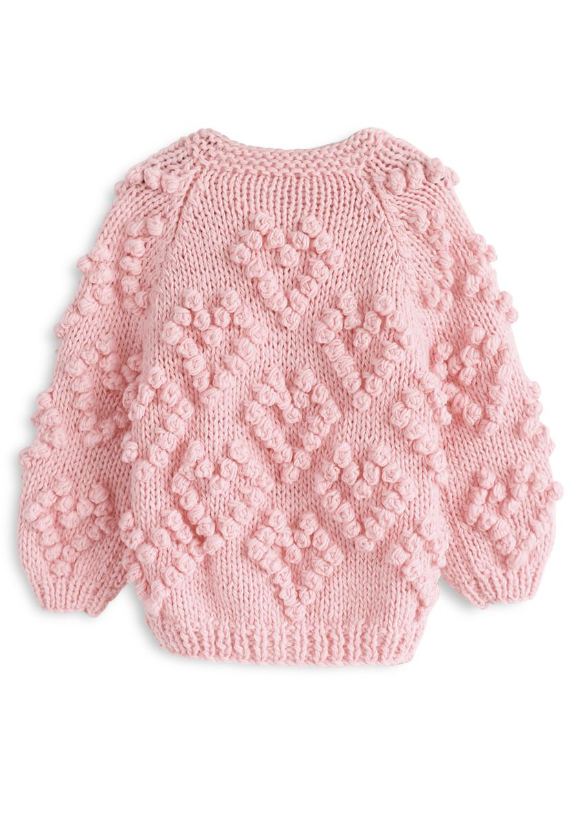 Knit Your Love Cardigan in Pink For Kids