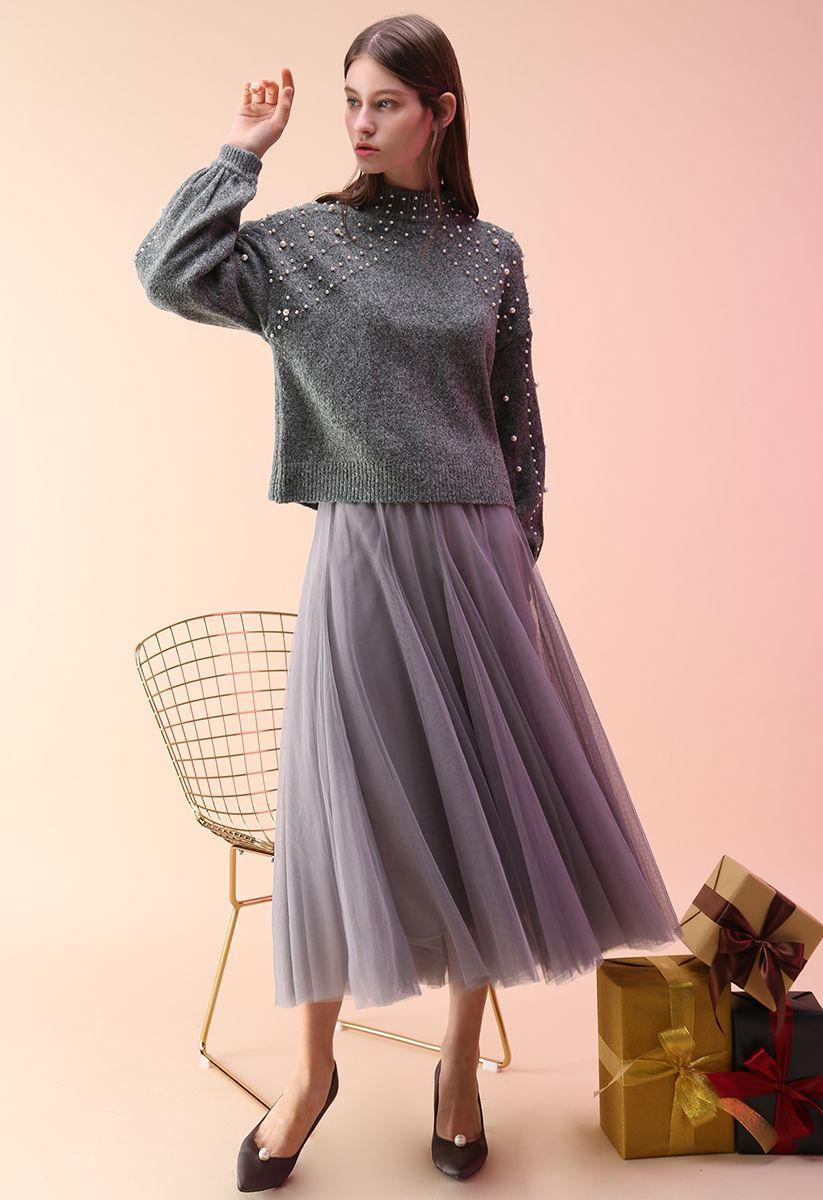 My Secret Garden Tulle Maxi Skirt in Grey
