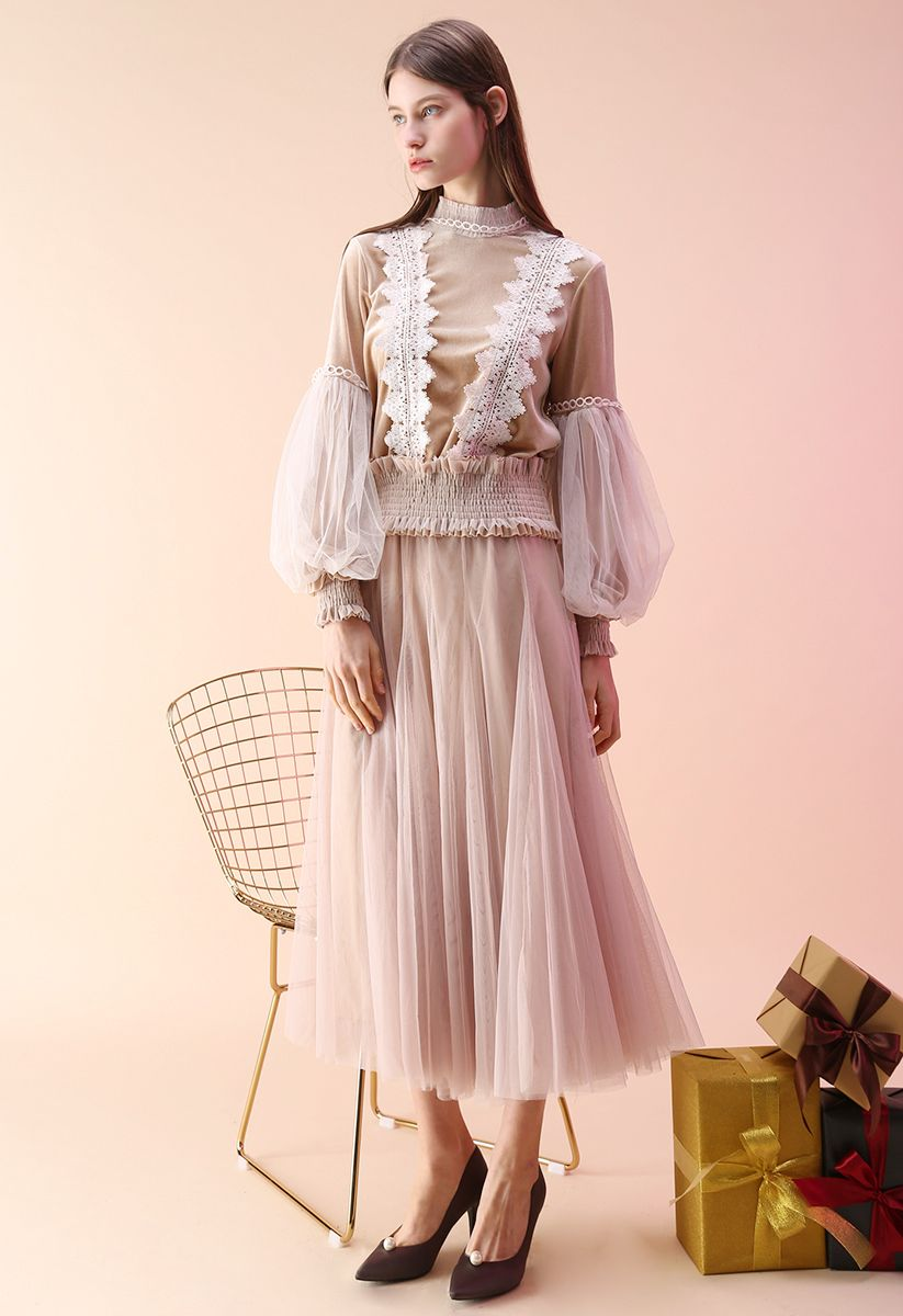 My Secret Weapon Tulle Maxi Skirt in Cream