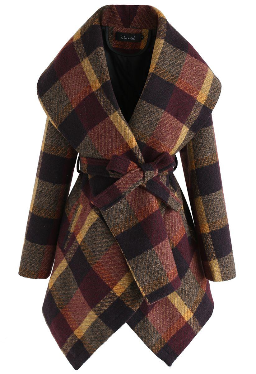 Prairie Check Rabato Coat in Plum