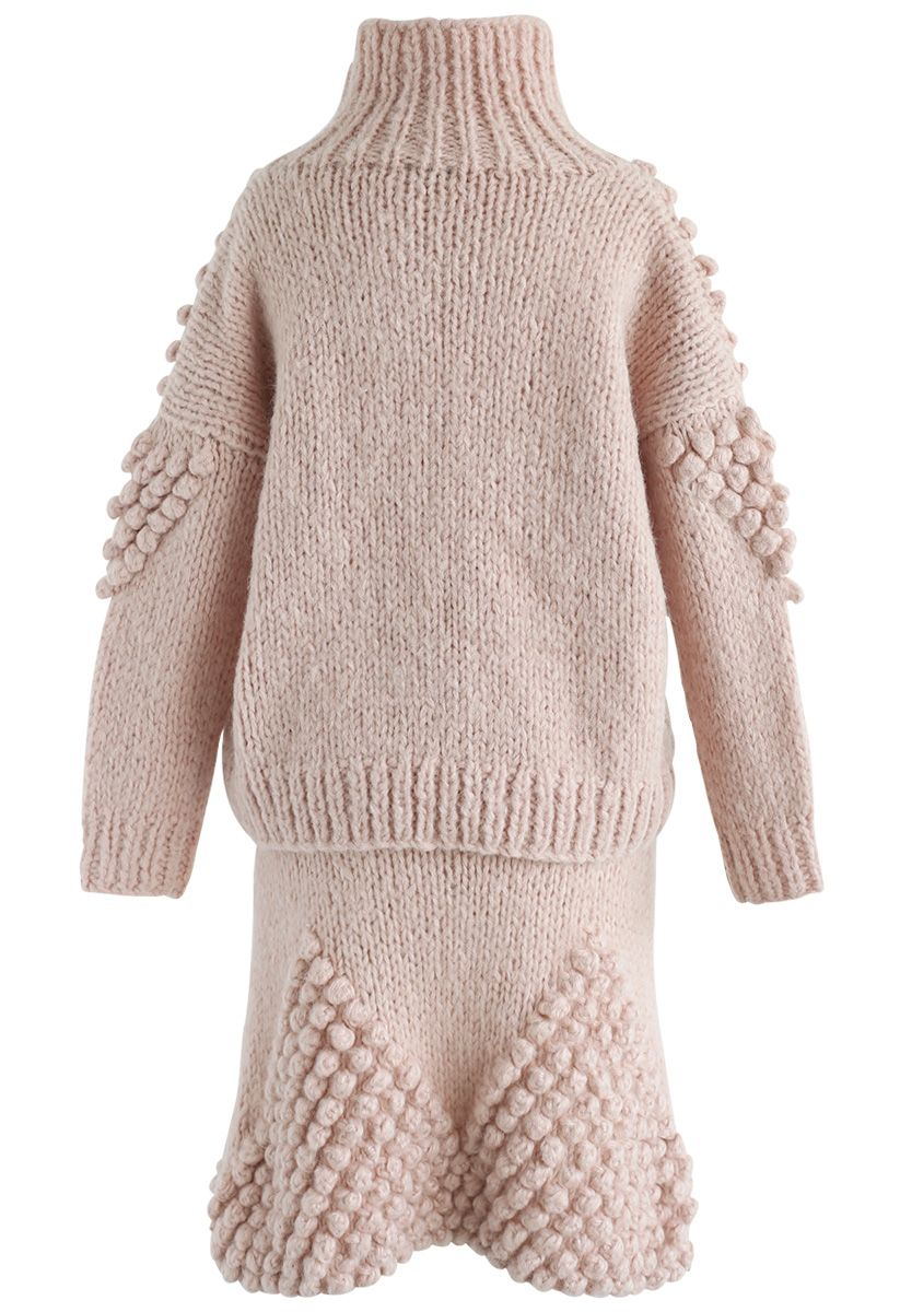 As Peppy As You Are Pom-Pom Turtleneck Sweater and Skirt Set