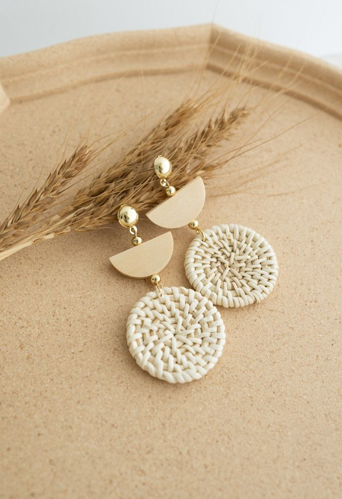 Organic Wooden Straw Weave Earrings