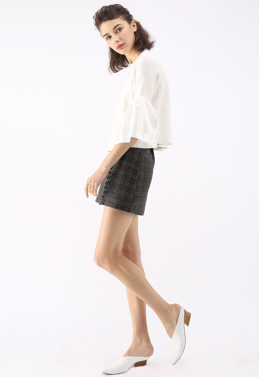 The Noblest Bell Sleeves Crop Sweater in White