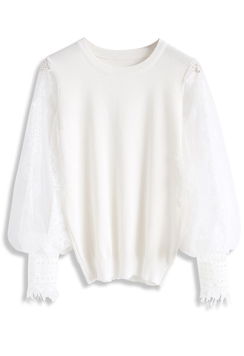 Romantic Sample Mesh Bubble Sleeves Sweater in White